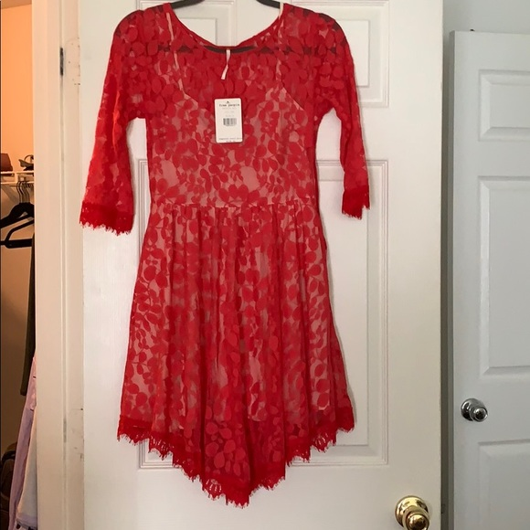 Free People Dresses & Skirts - Free People Lace Red Dress